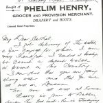 Letter from Phelim Henry to Cathal